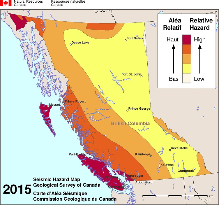 Show the risk of earthquakes based on location in British Columbia